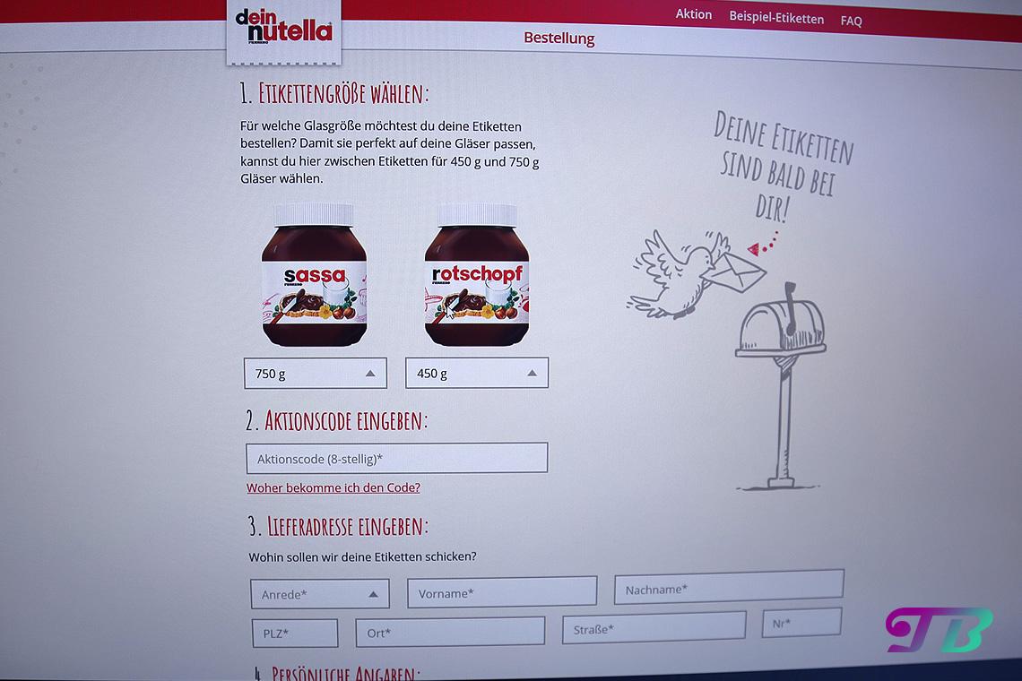 Nutella Etikett Bestelldaten