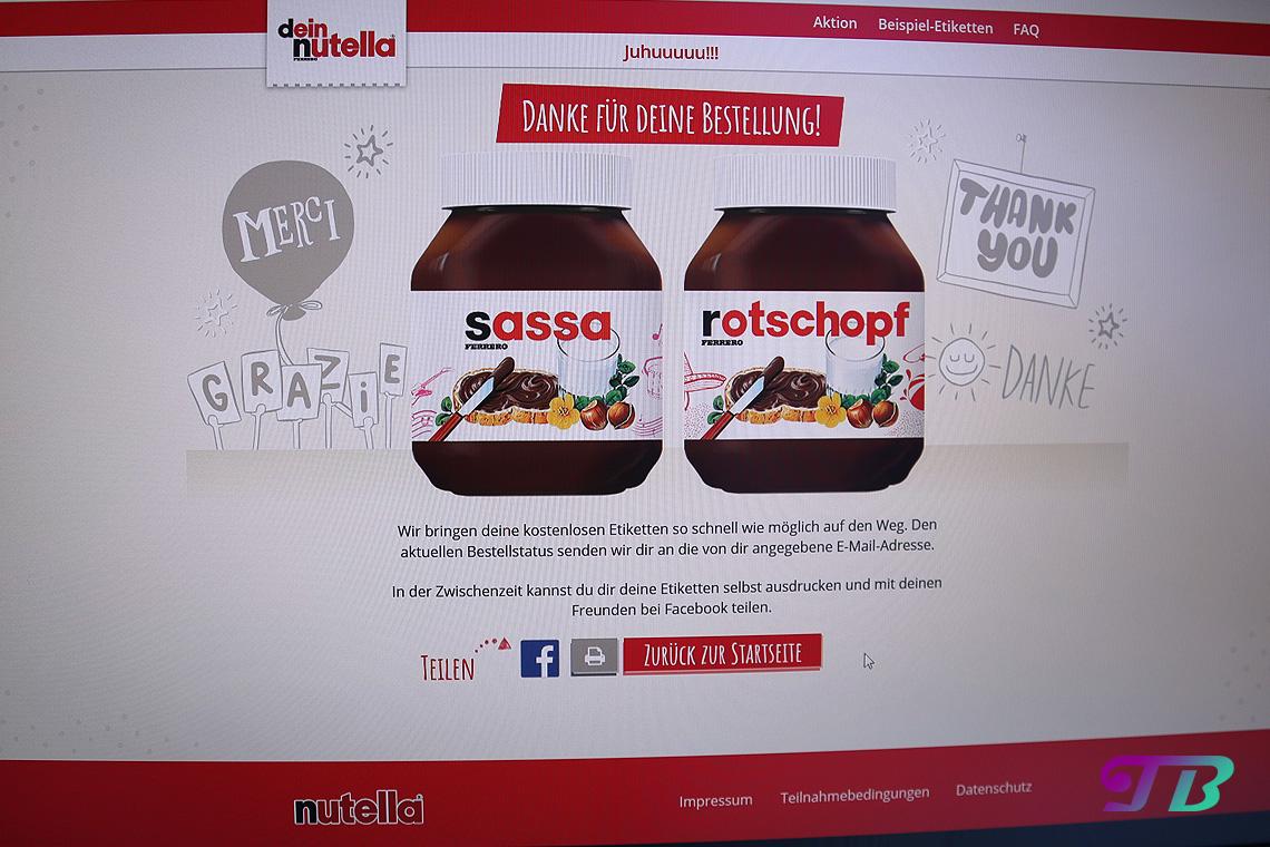 Nutella Etikett fertige Bestellung
