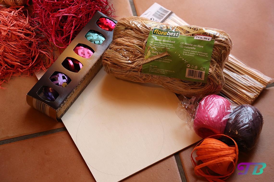 Osterkorb Material Bast Geschenkband Sperrholzplatte