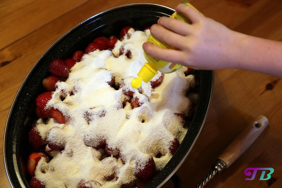 Erdbeeren Zitronensaft hinzufügen