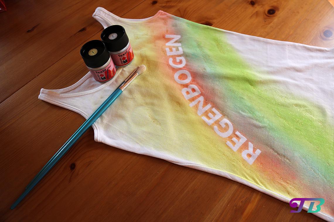 Regenbogen Shirt Textil Glitzerfarbe