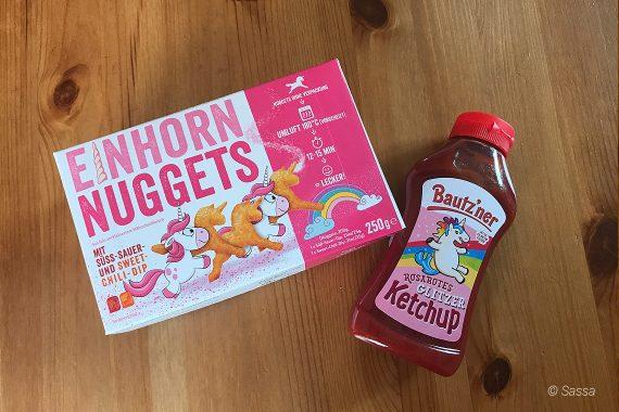 Einhorn Nuggets von Lidl & Bautz'ner rosa Glitzerketchup