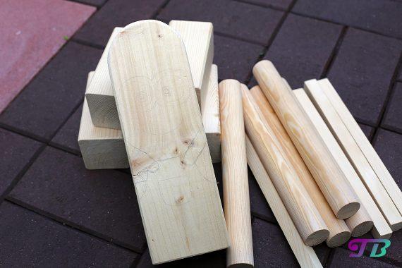 Kubb Wikingerschach fertig zurechtgesägte Holzelemente