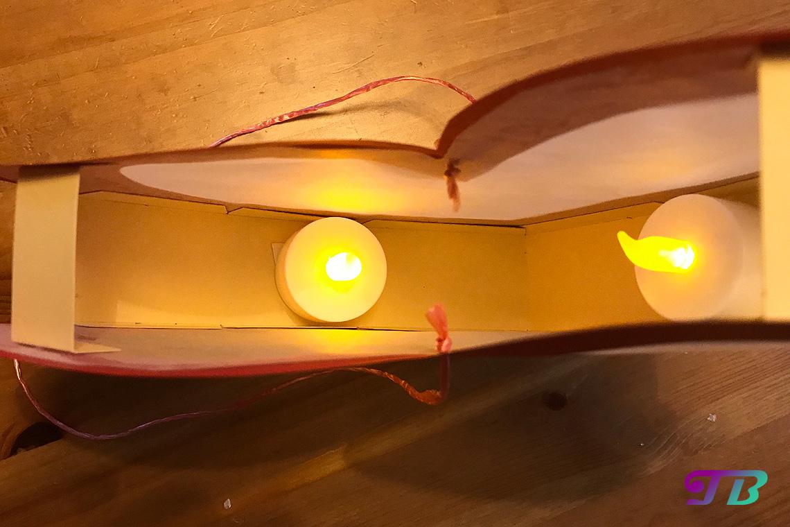 DIY Lastminute Lampion Herz LED-Teelichter befestigen