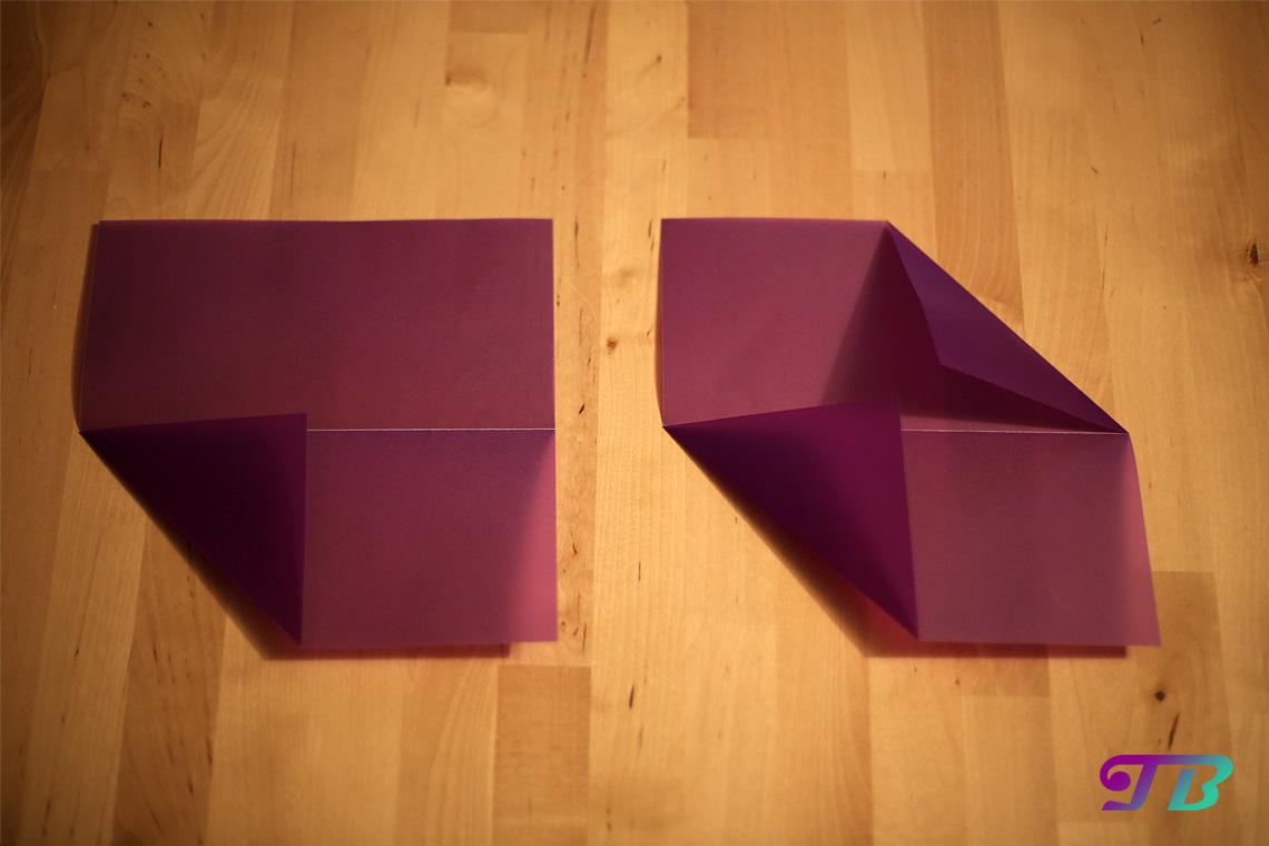 DIY Bascetta Stern Schritt zwei drei Falt-Technik
