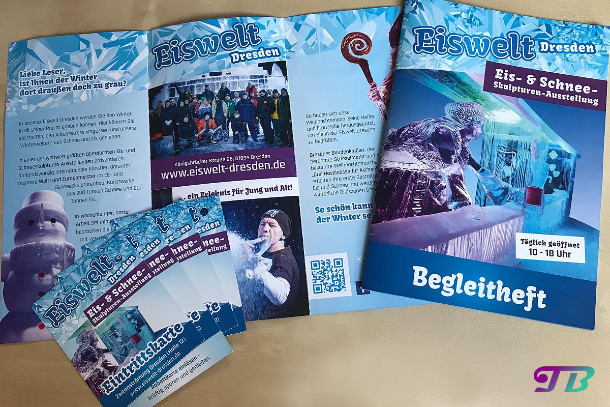 Eiswelt Dresden Eis Begleitheft Eintrittskarten Broschüre