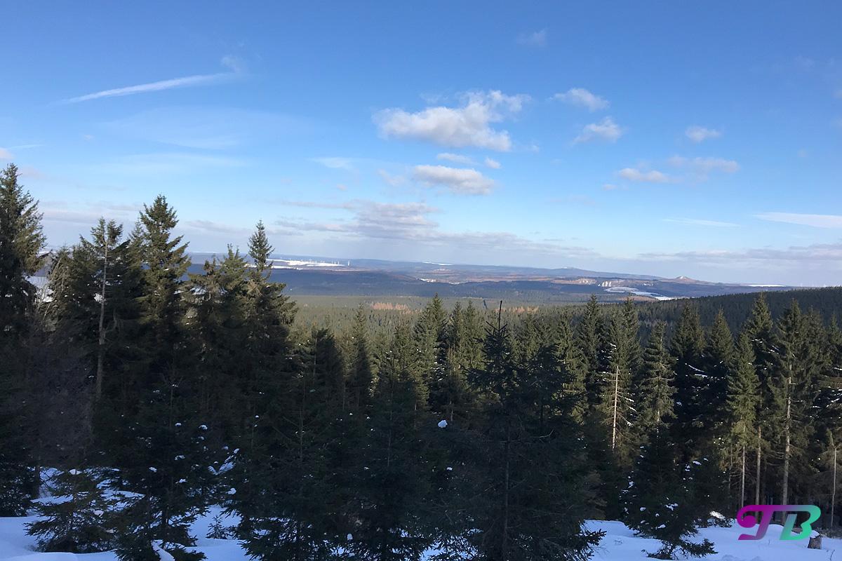 Skifahren Langlauf Ausblick Aussichtsloipe Fichtelberg