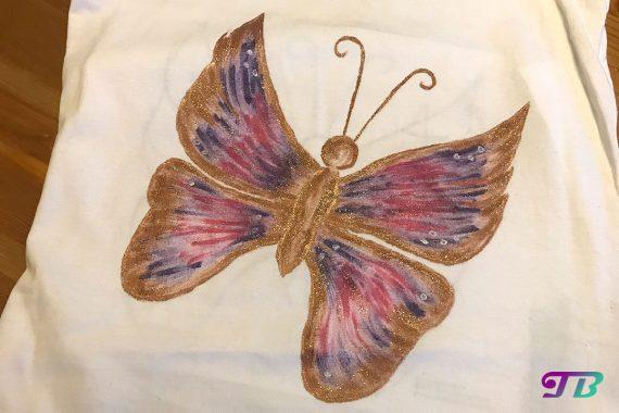 Schmetterling Shirt DIY Perlfarben Glitter
