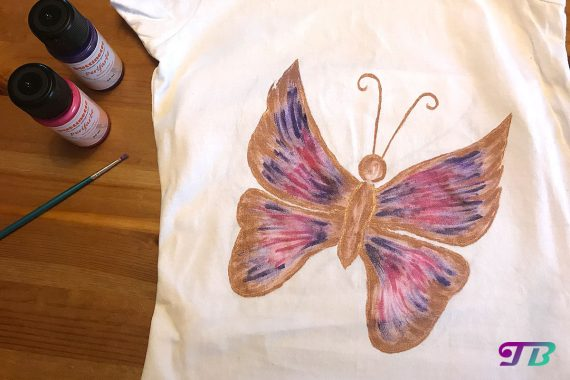Schmetterling Shirt DIY Perlfarben