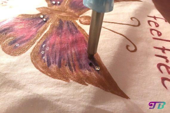 Schmetterling Shirt DIY Strass kleben