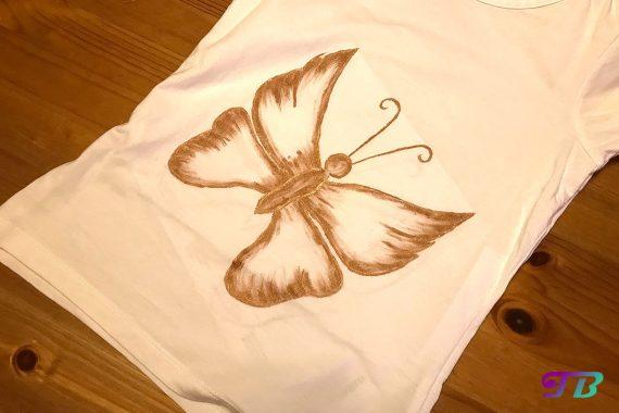 Schmetterling Shirt DIY Motiv malen Perlfarbe Metallic