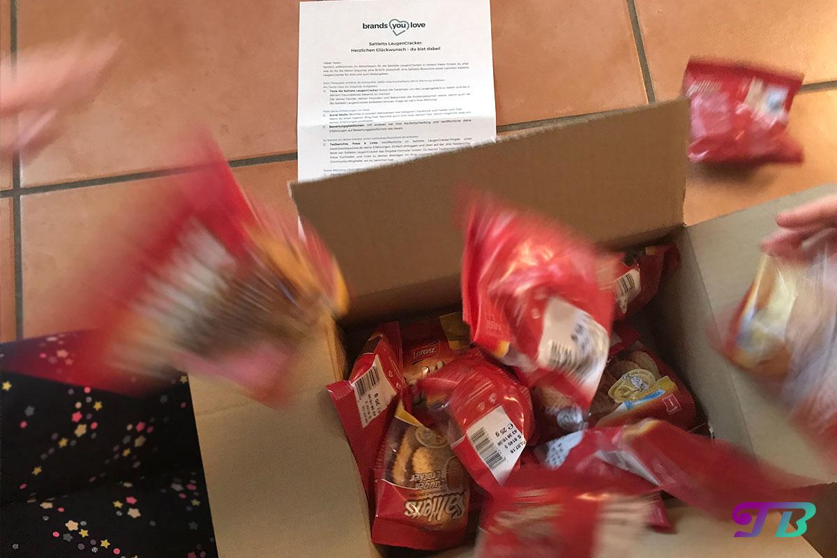 Saltletts Laugen Cracker erster Eindruck Testpaket unboxing