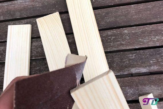 DIY Webrahmen Holz schleifen