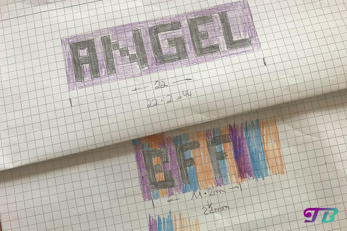 Rocailles Perlen Armband Angel BFF Skizze Muster