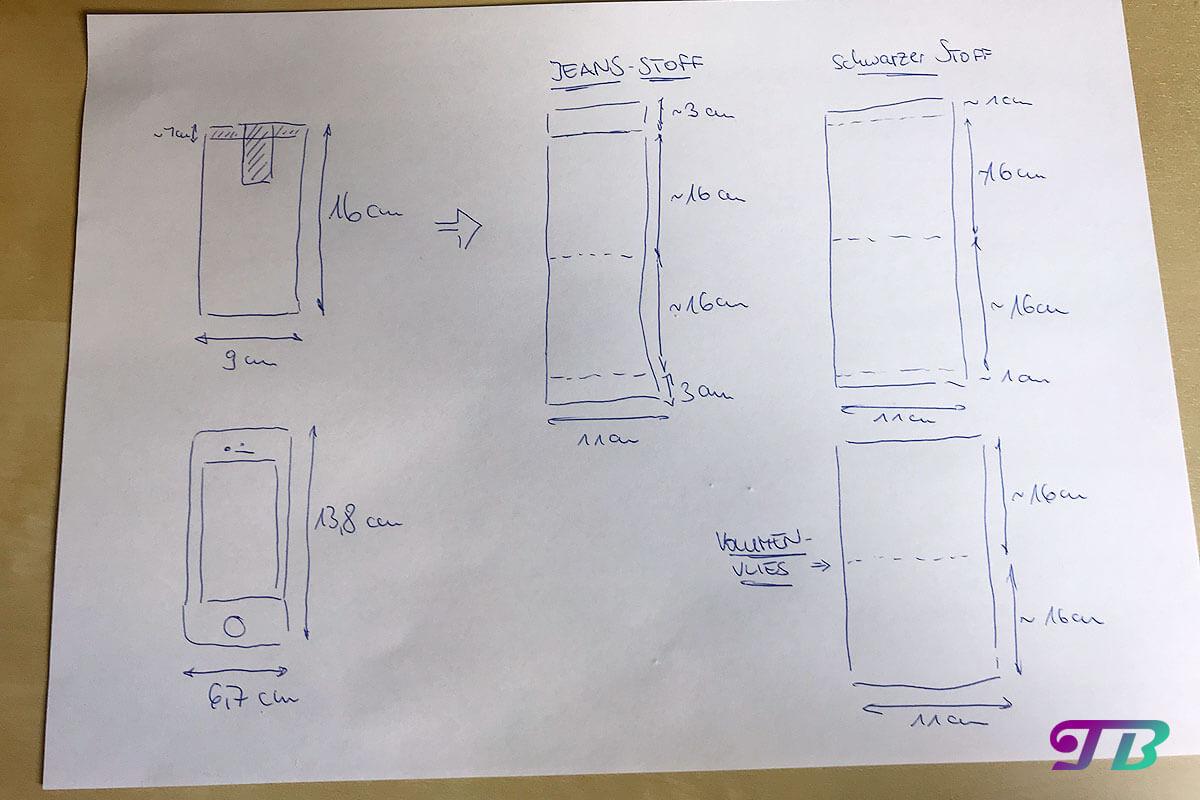 Handytasche Case Skizze DIY