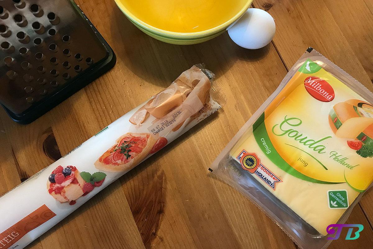 Käsestangen Zutaten Blätterteig Käse Gouda Ei
