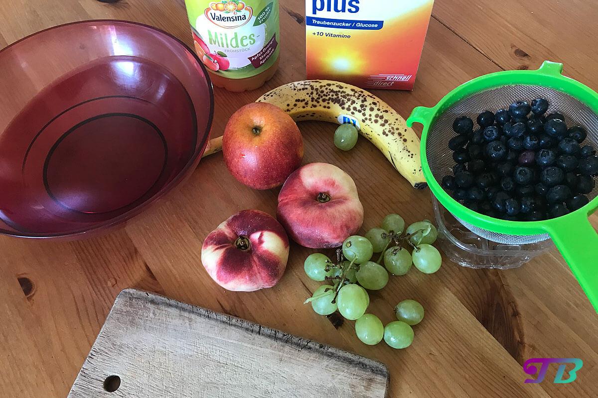 Obstsalat Zutaten Obst Saft Traubenzucker