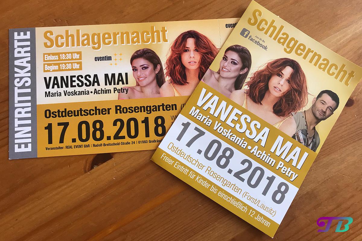 Vanessa Mai Rosengarten Forst Schlagernacht Flyer Karte
