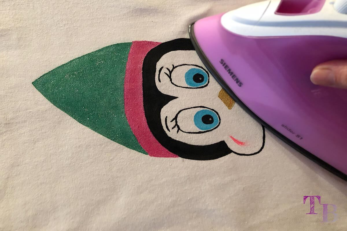 DIY Shirt Pinguin Motiv fixieren Bügelfixierung