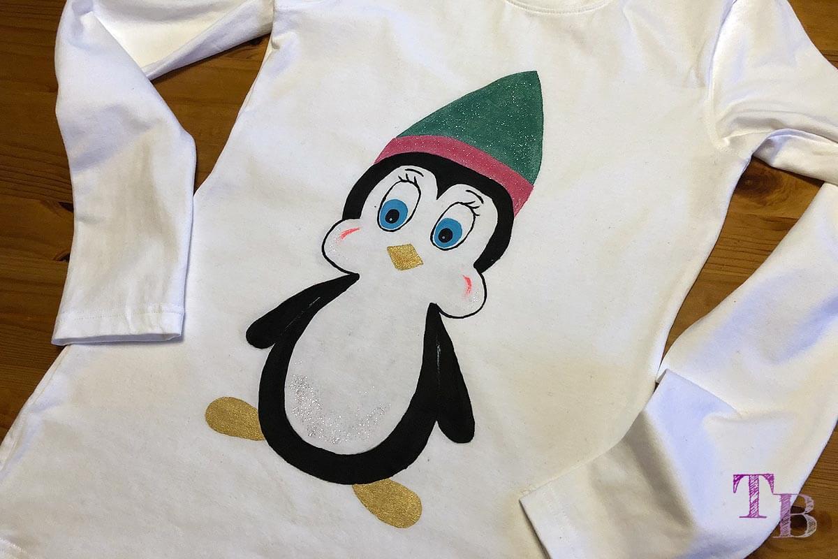 DIY Shirt Pinguin Motiv Textilfarben vorn