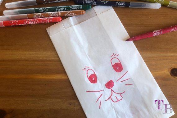 Keinohrhase DIY Papiertüte Stifte Gesicht