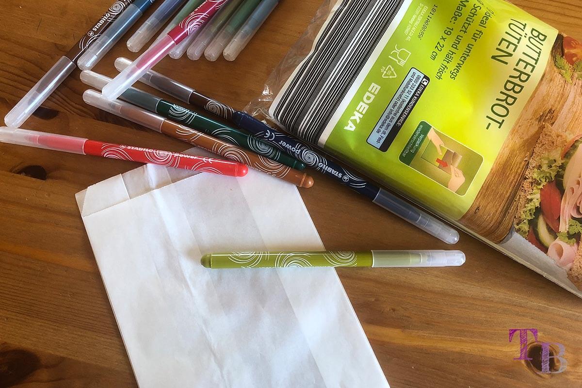 Keinohrhase DIY Papiertüte Stifte malen