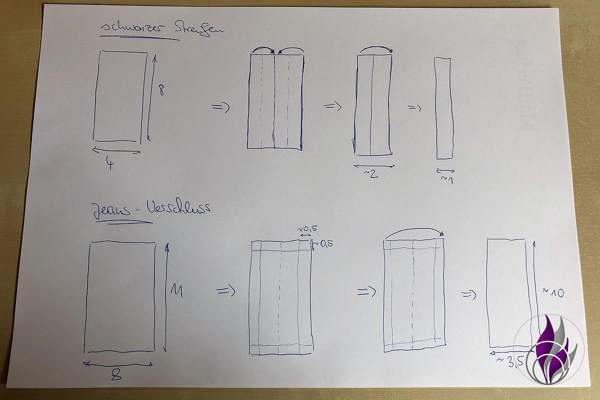 Handytasche Skizze Maße Schlaufe Verschluss
