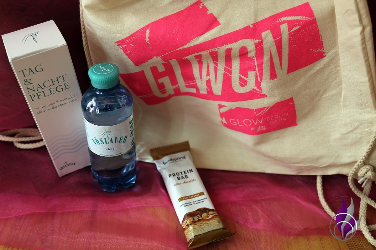 GLOW Goodie Bag Vöslauer Wasser Proteinbar