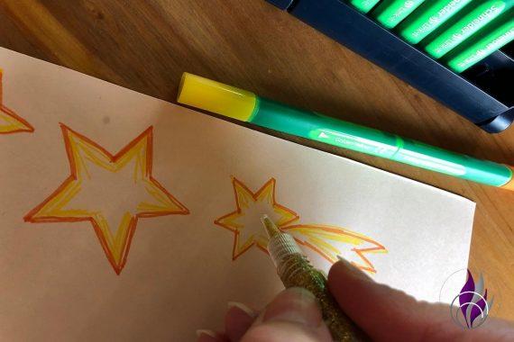 3D Popup Karte Weihnachten Glitter Glue gold