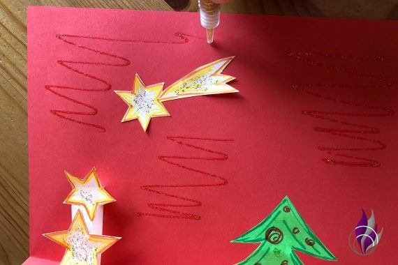 3D Popup Karte Weihnachten Innenteil Sterne Sternschnuppe